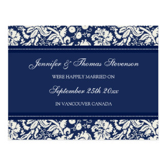 Just Married Announcement Postcards Blue Damask