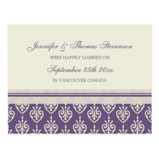 Just Married Announcement Postcards Plum Cream