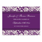 Just Married Announcement Postcards Plum Damask