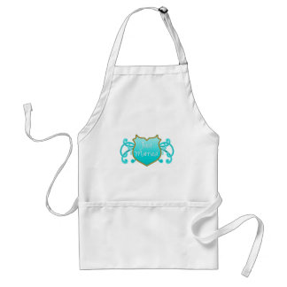 Just Married Aqua and Gold Shield with Flourishes Adult Apron