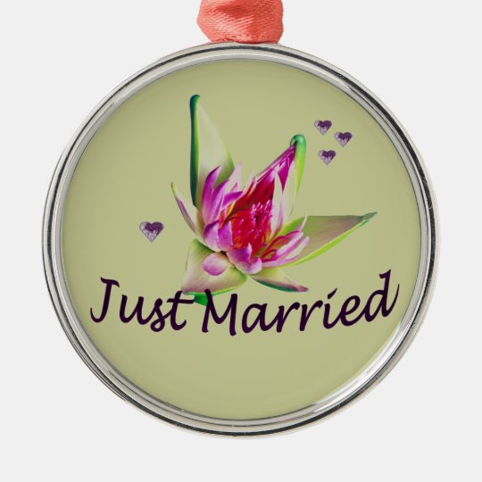 """""""Just Married"""" Asian Floral and Hearts Ornament"""