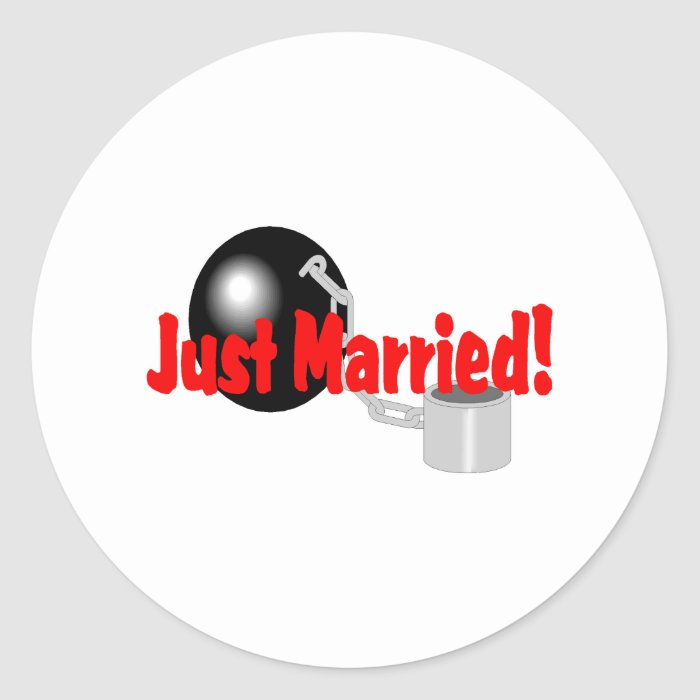 Just Married Ball and Chain Classic Round Sticker