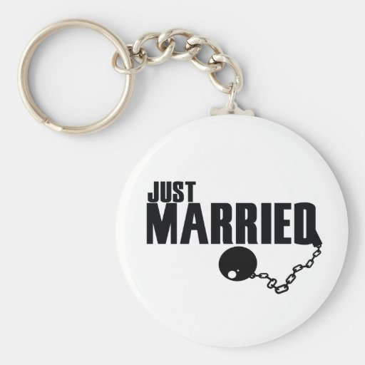 Just Married ball and chain Keychain