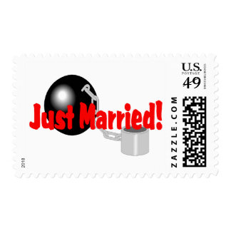 Just Married Ball and Chain Stamp