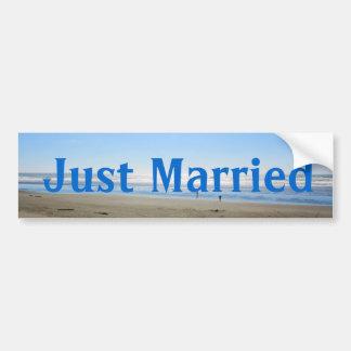 Just married beach  bumper sticker. bumper sticker