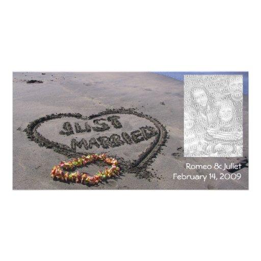 Just Married Beach Custom Photo Card