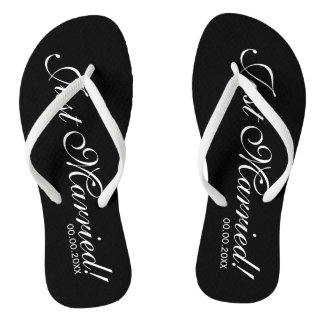 Just Married beach flip flops for bride and groom