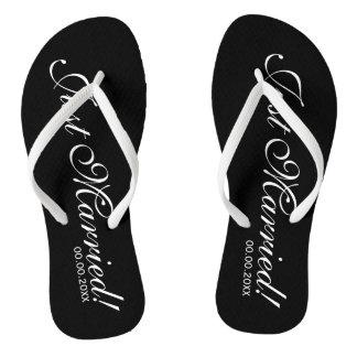 Just Married beach flip flops for bride and groom