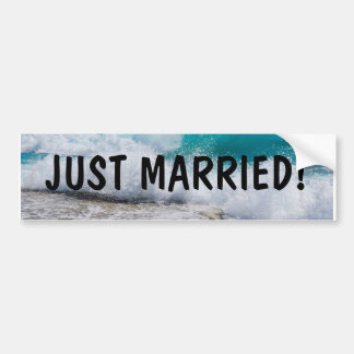 Just Married Beach Wedding Bumper Sticker