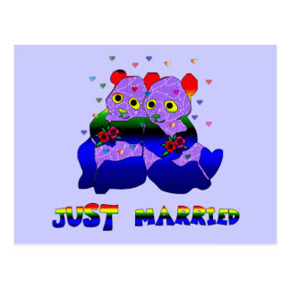 Just Married Bears Postcard