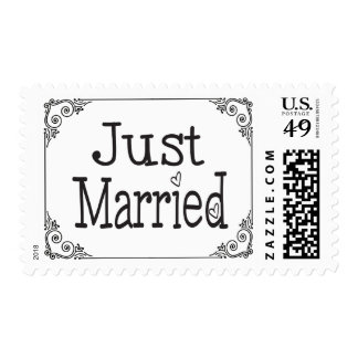 Just Married Black And White Heart Wedding Stamp