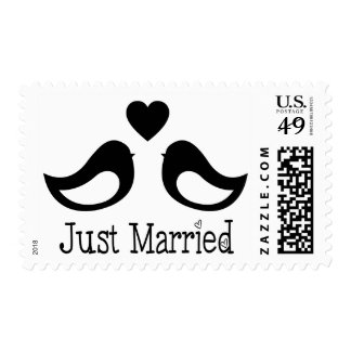 Just Married Black And White Lovebird Wedding Postage