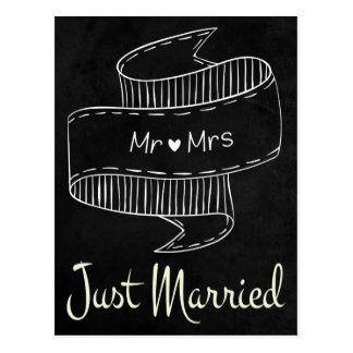 Just Married Black Chalkboard Wedding Postcard