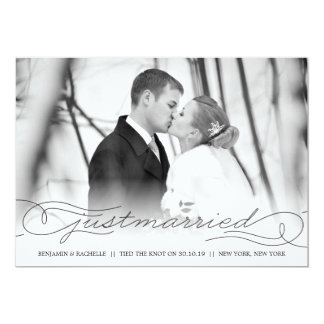 Just Married Black Wedding Announcement Photo Card