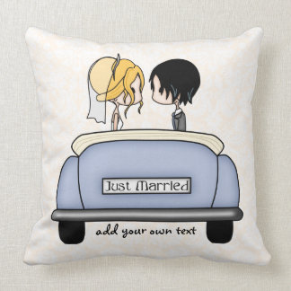 Just Married Blonde Bride & Black Haired Groom Throw Pillow