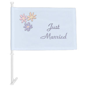 Just Married Blue Car Flag