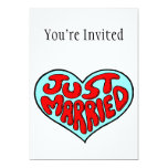 Just Married Blue Heart 5x7 Paper Invitation Card