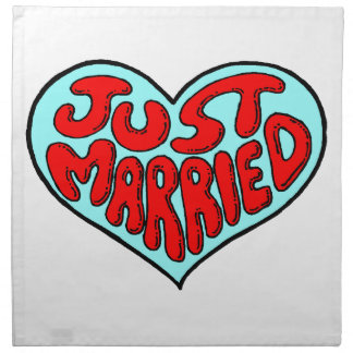 Just Married Blue Heart Cloth Napkin
