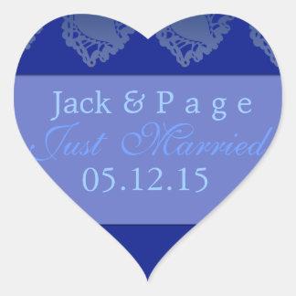 Just married blue heart label heart sticker