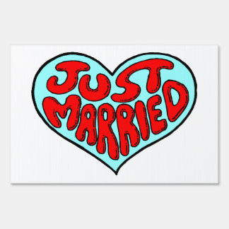 Just Married Blue Heart Sign