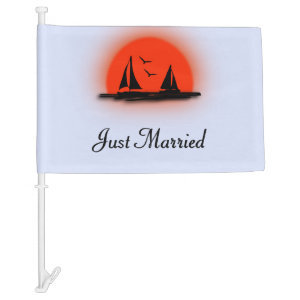 Just Married Boat Car Flag