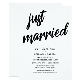 """""""Just Married"""" Bold Script Wedding Reception Event Card"""