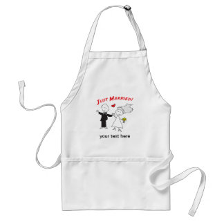 Just Married Bride and Groom Apron