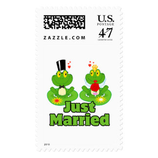 just married bride and groom froggy frogs postage