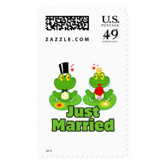 just married bride and groom froggy frogs postage stamps
