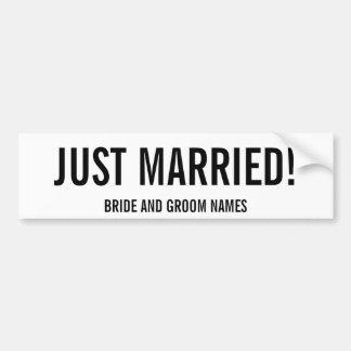 JUST MARRIED! Bride and Groom Names Bumper Sticker Car Bumper Sticker