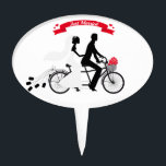 "Just married bride and groom on tandem bicycle cake topper<br><div class=""desc"">Just married,  wedding announcement,  bride and groom on tandem bicycle,  design for cards,  stickers,  t-shirt,  gift for her,  gift for him,  wedding gift,  wedding shower</div>"