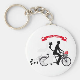 Just married bride and groom on tandem bicycle keychain