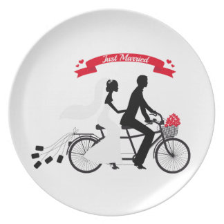 Just married bride and groom on tandem bicycle dinner plates