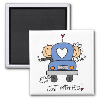 Just Married Bride and Groom T-shirts and Gifts 2 Inch Square Magnet