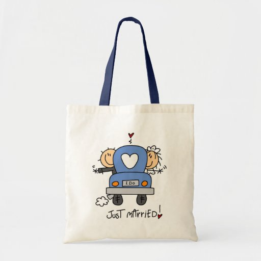 Just Married Bride and Groom T-shirts and Gifts Tote Bags