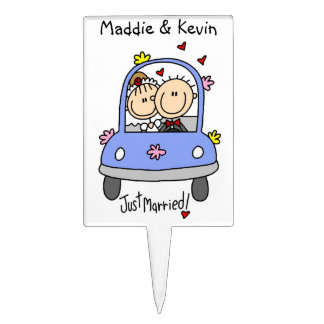 Just Married Bride and Groom T-shirts and Gifts Cake Topper