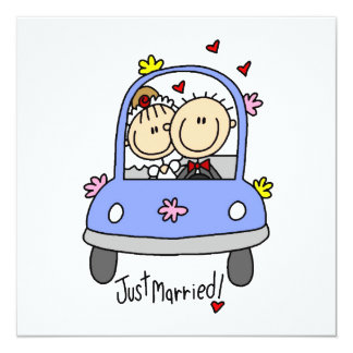 Just Married Bride and Groom T-shirts and Gifts Invite
