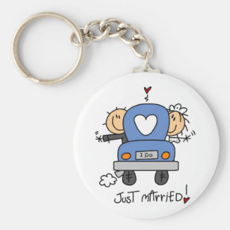 Just Married Bride and Groom T-shirts and Gifts Keychain