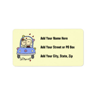 Just Married Bride and Groom T-shirts and Gifts Label