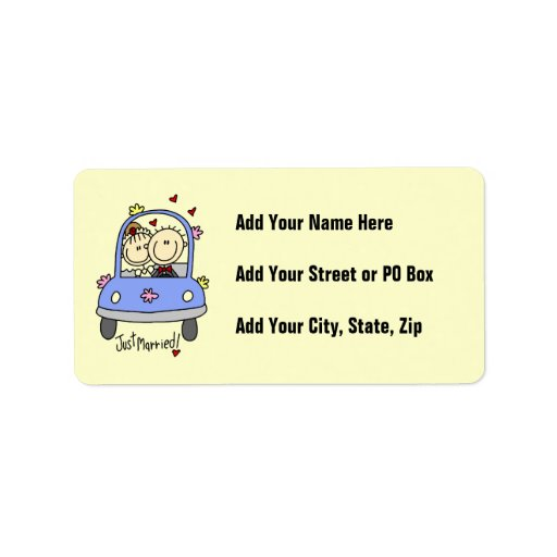 Just Married Bride and Groom T-shirts and Gifts Address Label