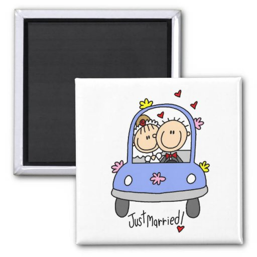 Just Married Bride and Groom T-shirts and Gifts Magnets