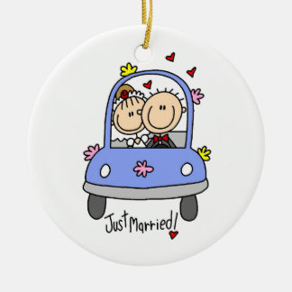 Just Married Bride and Groom T-shirts and Gifts Christmas Tree Ornament