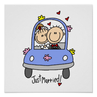 Just Married Bride and Groom T-shirts and Gifts Posters