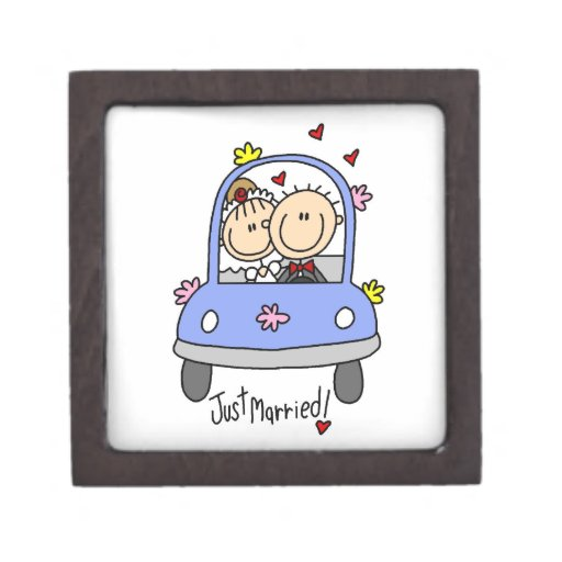 Just Married Bride and Groom T-shirts and Gifts Premium Trinket Box