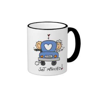 Just Married Bride and Groom T-shirts and Gifts Ringer Coffee Mug