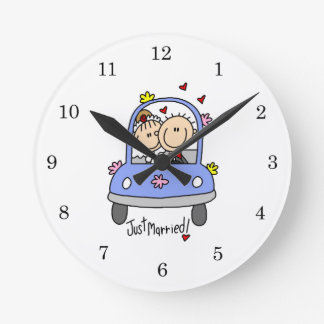 Just Married Bride and Groom T-shirts and Gifts Round Wallclock
