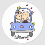 Just Married Bride and Groom T-shirts and Gifts Classic Round Sticker