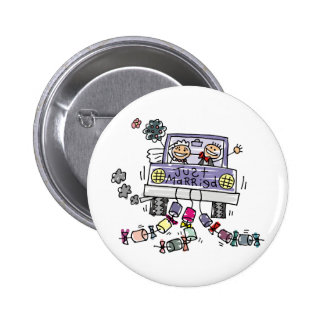 Just Married Bride And Groom Wedding Celebration Button