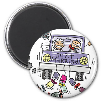 Just Married Bride And Groom Wedding Celebration 2 Inch Round Magnet
