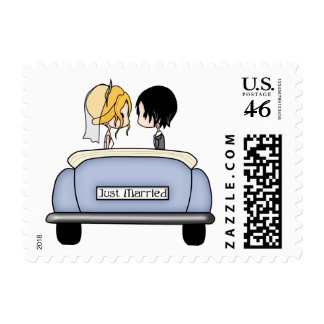 Just Married - Bride Groom in a Wedding Car 6 Postage Stamps